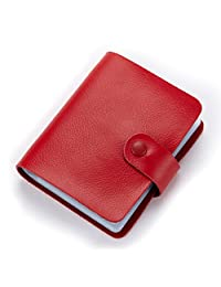 MuLier Soft Leather Case Wallet Bag Holder for 60 Credit Cards Red