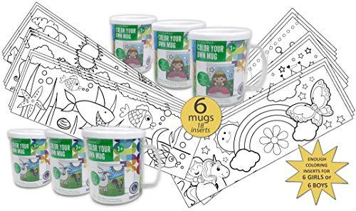 AoneFun Set of 6 - Color Your Own Mug - Coloring Mug - Color Your Own Cup - Coloring Cup - Party Arts & Crafts Kits for Boys & Girls - Craft Kit Cup