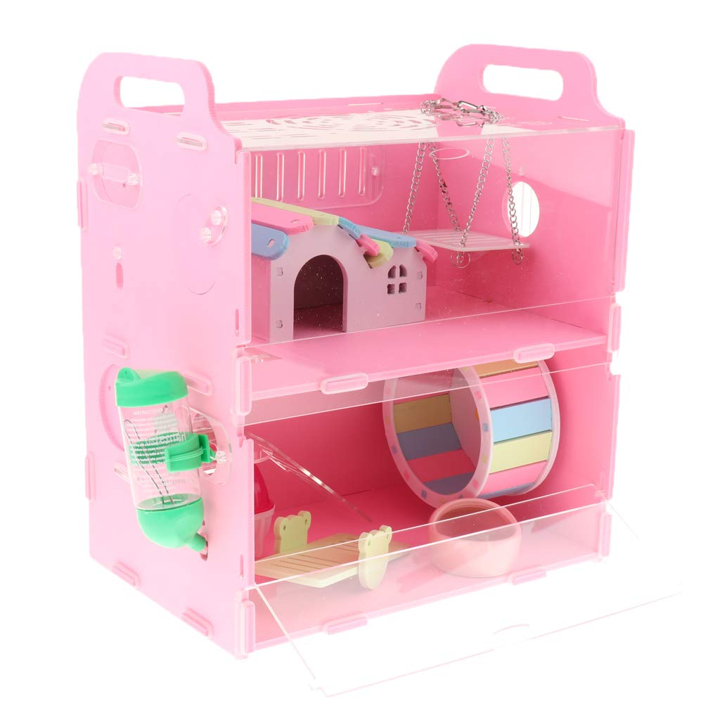 Pink double layer MagiDeal Acrylic Hamster Cage Set Guinea Pig Ferret House Small Pets Supplies Funny Mouse Toy Pet Living Room Pink Double Layer