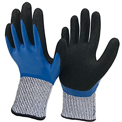Hanhelp Cut Resistant Gloves with Dual Nitrile Coating, Water Resistant Kitchen Level 5 Hand Protection Safety Gloves, Grip Durable Comfortable Indoor Outdoor Work Multipurpose.