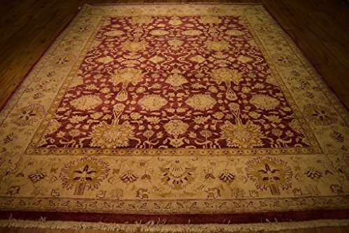 Agra Gold Area Rugs - Harooni 9x12 New Imported Vegetable Dyed natural Wool Chobi Agra Rug - BURGUNDY GOLD