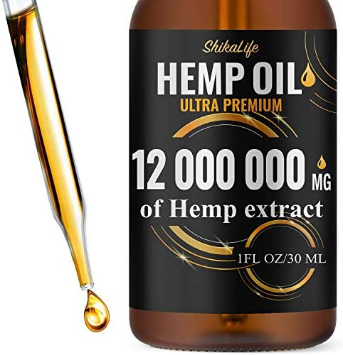 Hemp Oil Drops 12 000 000 mg, Co2 Extracted, Made in USA, Help Reduce Stress, Anxiety and Pain, 100% Natural Ingredients, Vegan Friendly, GMO Free (1)