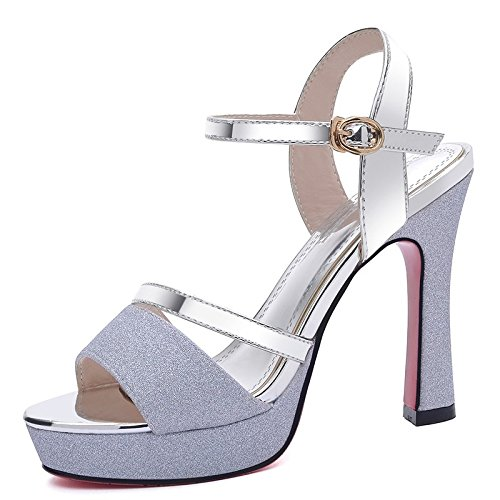 Jqdyl Tacones Sandalias de Verano nuevos Zapatos de Boca de Pescado Zapatos Gruesos con Plataforma Impermeable Sandalias de Tacón Alto, 37, Plata 37|Silver