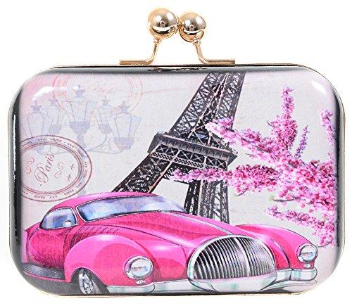 Vintage Paris France Bi-Fold Clutch Purse with Chain Strap - Pink Car