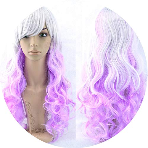 70cm Long Women Hair High Temperature Fiber Wigs Synthetic Hair Cosplay Wig Peruca,T1B/4/30,28inches]()