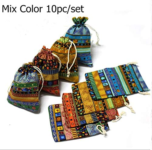 Startdy DH 10pcs Egyptian Style Jewelry Coin Candy Goodie Pouches Aztec Print Drawstring Gift Bag