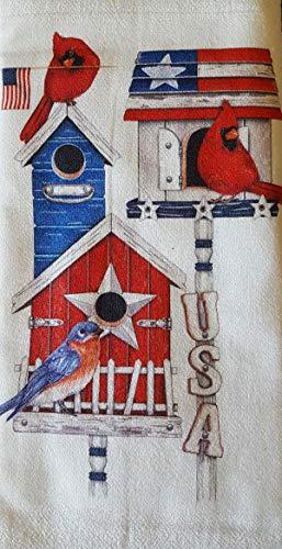 (Mary Lake Thompson Patriotic Birdhouses Red White Blue 100% Cotton Flour Sack Dish Tea Towel 30