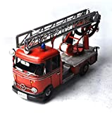 GL&G Retro Iron art Fire truck model Photography props Home bar decoration Storefront Window display Tabletop Scenes Ornaments Collectible Vehicles High-end gift,291113cm