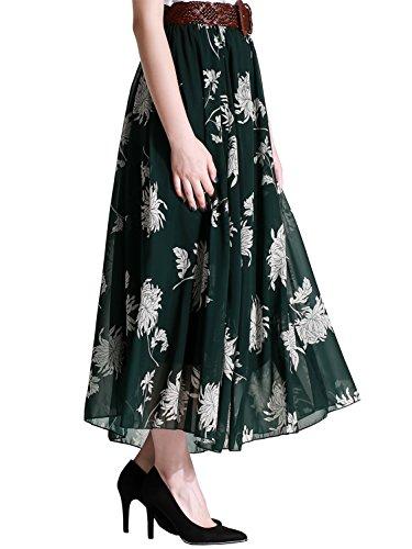 Florboom Summer Flowy Floral Chiffon Long Skirts Women (Dark (Womens A-line No Pleat Skirt)