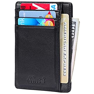 Minimalist Wallets For Men Front Pocket Wallet Thin Small Slim Wallet Mens Rfid Blocking Id Credit Card Holder For Women Black Genuine Nappa Leather Wallet