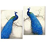 Peacock Canvas Art Prints,Peacock Canvas Wall Art Home Wall Decal,Canvas Art with Frame,Ready Hanging On,Animal Peacock Wall Art (Modern Blue Large)