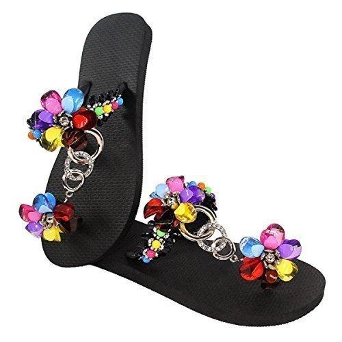Designer Luxus Flip Flops-Chanclas Exclusivas by Simone Herrera-Glamourous Line-Estrella-Riemchen Sandale Zehentrenner negro/schwarz