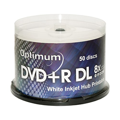 Optimum DVD+R DL Double Layer 8X White Inkjet Printable 50pk in Spindle Cake - Disc Cake 50 Box