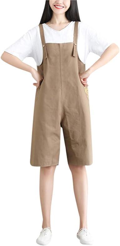 STRIR Mujer Mono Chicas Petos Corta Pantalones Harem Anchos Baggy ...