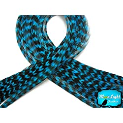 6 Pieces - XL TURQUOISE BLUE THIN Grizzly Rooster Hair Extension Feathers