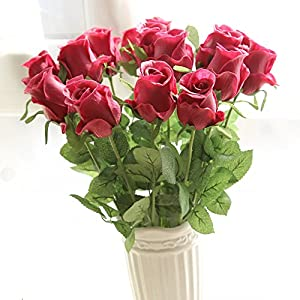 15pcs Artificial Flowers PU Rose Flower Valentines Bouquet Home Decoration Wedding Banquet Party Valentine's Day Gifts Birthday Garden Bridal Bouquet , Vase Not Included 7