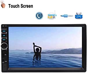 Double Din Car Stereo 7 Inch Capacitive Touch Screen in Dash Headunit MP5 Player Support USB/SD/AUX-in/FM/AV-in/GPS Navigation/Colorful Button with Free Wireless Remote Control