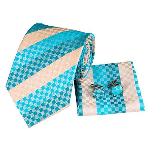 (CAOFENVOO Men Blue Yellow Stripes Tie Handkerchief Necktie with Cufflinks and Pocket Square Tie Set)