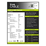 Cat6 Plenum (CMP), 1000ft, Blue, Solid Bare Copper Bulk Ethernet Cable, 550MHz, ETL Listed, 23AWG 4 Pair, Unshielded Twisted Pair (UTP), trueCABLE 14 HIGH PERFORMANCE NETWORK CABLE. This plenum rated cat 6 lan cable is 23 AWG with 4 pairs (8C). Suitable for Fast, Gigabit, and 10-Gigabit Ethernet. Supports bandwidth of up to 550 MHz. HASSLE FREE PACKAGING. 1000 feet (305 meters) of our trueCABLE product has been packaged in a tangle free, easy pull box so you don't have to worry about getting behind on your next job. 100% SOLID BARE COPPER CONDUCTORS. Pure bare copper produces a stronger signal along with better conductivity and flexibility when compared to copper clad aluminum (CCA).