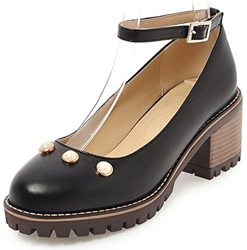 Idifu Womens Perle Douce Bout Arrondi Bas Haut Mid Block Chaussures À Talon De Bureau Chaussures Avec Bride À La Cheville Noir