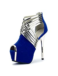 fereshte Womens Sexy Peep-Toe Ankle Strappy Platform Stiletto High Heels Sandals