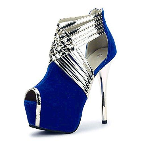 fereshte Womens Sexy Peep-Toe Ankle Strappy Platform Stiletto High Heels Sandals Suede Blue US 11 -