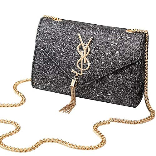 Small Leather 22x6x15cm Shoulder 8 Black Package Mini Ysl And 66x2 Chain 91inch Female With Sequin Handbag Xxjy Bag Women 36x5 Clutch Tassel For Ladies Pu Purse Summer xBI8wqgxa