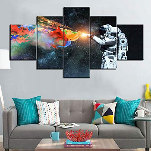 Fankiko Wall Decorations for Living Room Spaceman in Galaxy Paintings Mixed Media Pictures 5 Panel Canvas Wall Art Decor Artwork Modern Giclee Wooden Framed Gallery-Wrapped Ready to Hang(60''Wx32''H) ()