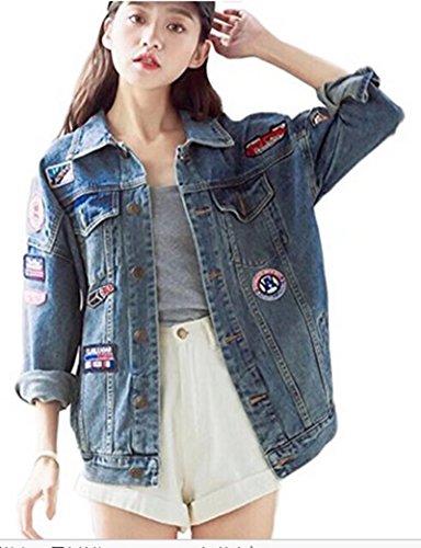 Femme Blouson Fille Chic Motif de broderie Harajuku Printemps et Automne Veste en Jean