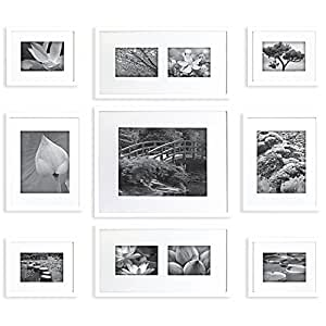 picture hanging template kit - gallery perfect 9 piece white wood photo frame