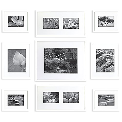 Gallery Perfect 9 Piece White Wood Photo Frame Wall Gallery Kit #16FW1005. Includes: Frames, Hanging Wall Template, Decorative Art Prints and Hanging Hardware