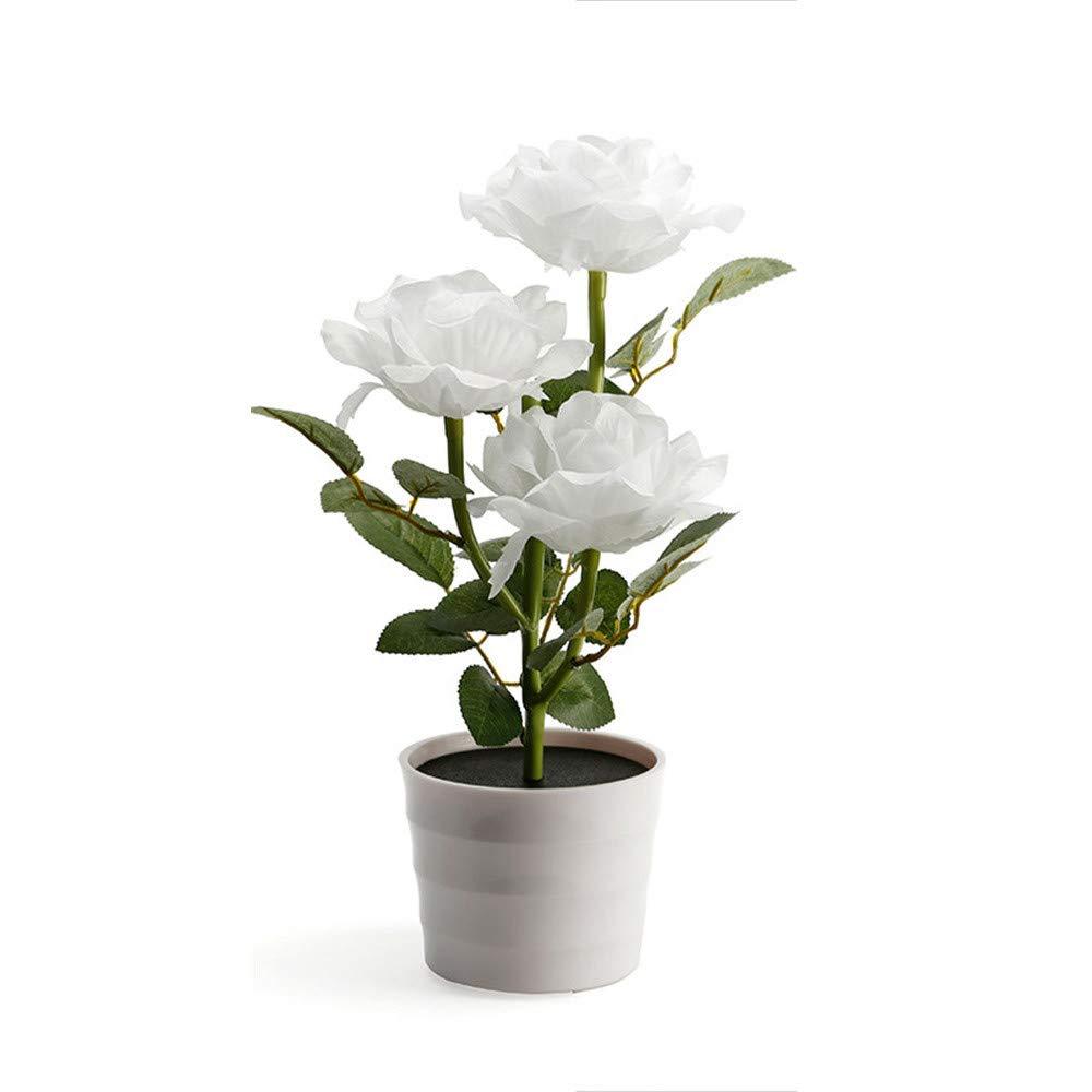 LiPing Solar Rose Flower Lights LED Artificial Rose Pot Flower Bonsai Lamp Warm White Decorative Lights Garden Light Gutter Fence (White)