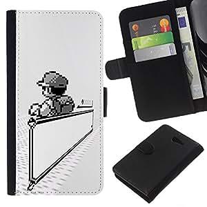 LECELL--Cuero de la tarjeta la carpeta del tirón Smartphone Slots Protección Holder For Sony Xperia M2 -- Mario Juegos --