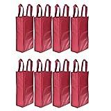 Homanda®Pack of 8 Red Non-Woven 2-Bottle Wine Tote Bag Holder, Reusable Gift Bag