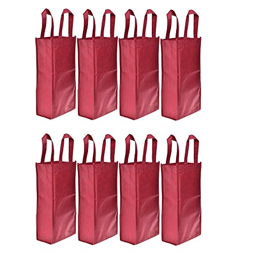 Homanda®Pack of 8 Red Non-Woven 2-Bottle Wine Tote Bag Holder, Reusable Gift (Non Woven Bottle)