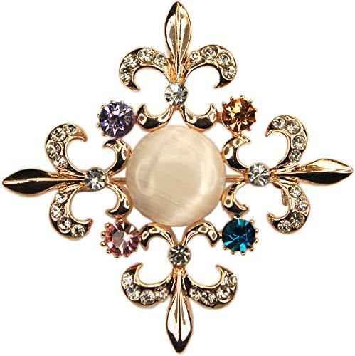 Fleur De Lis Gold Brooch - ViciBeads Brooch, Cat's Eye Multicolored Rhinestone Fleur-de-lis Cross Rose Gold Plated Brooch Bag
