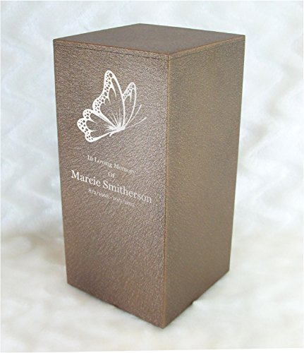 PERSONALIZED Engraved Butterfly Cremation Urn for Human Ashes - Made in America - Handcrafted in the USA by Amaranthine Urns, Adult Funeral Urn - Eaton DL (up to 200 lbs living weight) (Cast (Cast Metal Urn)