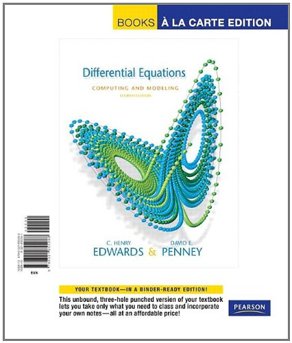 Differential Equations Computing and Modeling, Books a la Carte Edition (4th Edition)