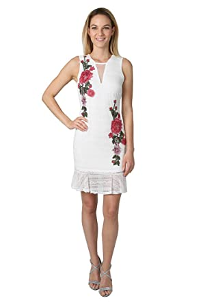 4a0839ae8 bebe Women's Embroidered Ruffle Hem Dress at Amazon Women's Clothing ...