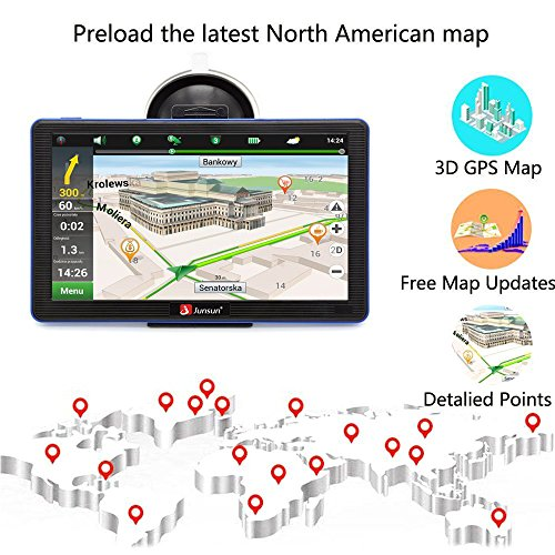 moveable auto GPS Navigation System Units 7 Inch Capacitive display screen 8GB Windows CE 60 US and Canada lifetime Maps Vehicle Navigator auto GPS