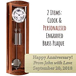 Qwirly 2-Item Bundle: Hermle MORNINGTON Mechanical Regulator Wall Clock in Walnut 70650030058 & Personalized Engraved Brass Plaque for Wedding, Anniversary or Employee Retirement