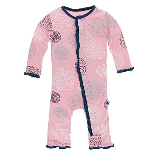 Classic Coverall (Kickee Pants Classic Print Ruffle Coverall with Snaps Lotus Blooms (Newborn))