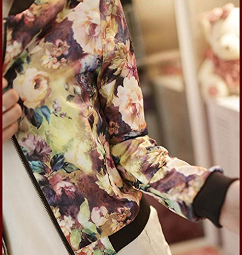 Larga Mujer Chaqueta Cuello para Manga Chaqueta Estampado Bombín KaloryWee Mujer Floral para Multicolor Cremallera Alto xEqYttCwd