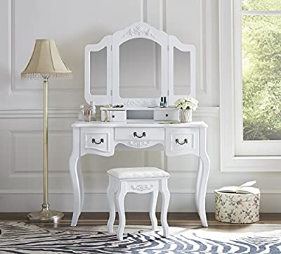 Fineboard Vanity Set Beauty Station Makeup Table and Wooden Stool Set with 3 Mirrors and 5 Organization Drawers Set
