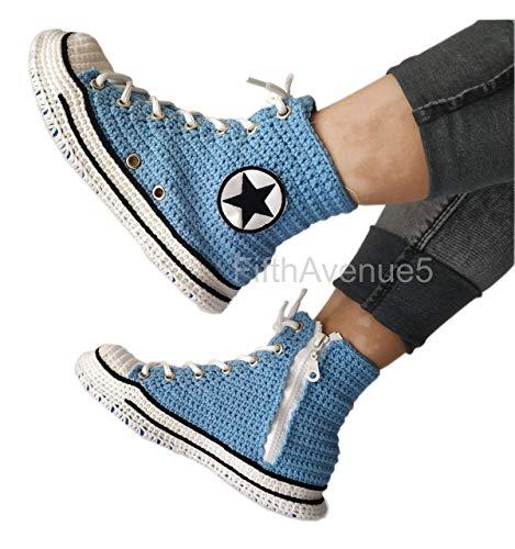 Handmade Crochet Light Blue High Tops Unisex Home Indoor Slippers, Comfy Knitted Comfort Breathable Slip On House Slippers ()