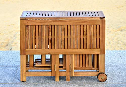 Safavieh Outdoor Living Collection Arvin 5-Piece Dining Set, Teak Brown (Outdoor Teak Bench Furniture)