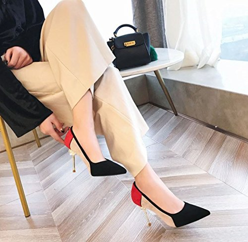 Heel Heels Sharp Leisure Shoes Water Suede Lady Temperament Elegant Work Drill Spring Heel Color 9Cm MDRW Fine Head Single 34 Black wOaqXxw