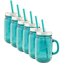 Aladdin (6 Pack) 20oz Plastic Mason Jar Tumbler With Straw and Lid Temperature Control Travel Home (6, Blue With Silver Lids)