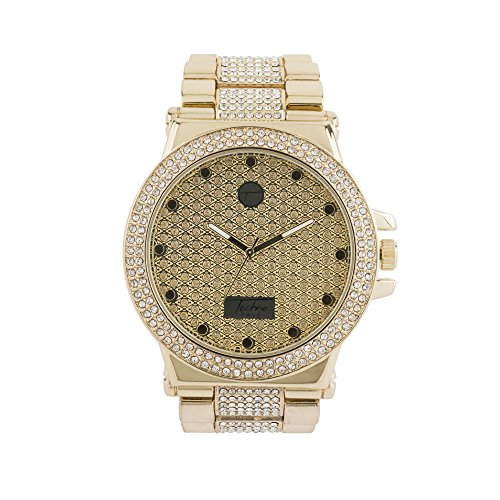 Two Row Fully Bling Bezel Iced Out Hip Hop Designer Watch with Luxury Crystals on Metal Band - Row The Designer