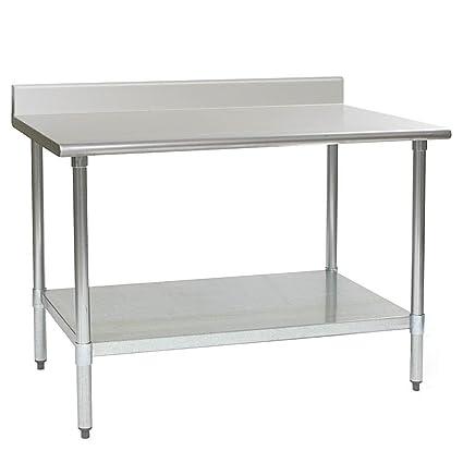 Custom Stainless Steel Work Table with Under Shelf & Back Splash